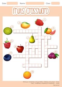 Crucigrama cruzado de frutas
