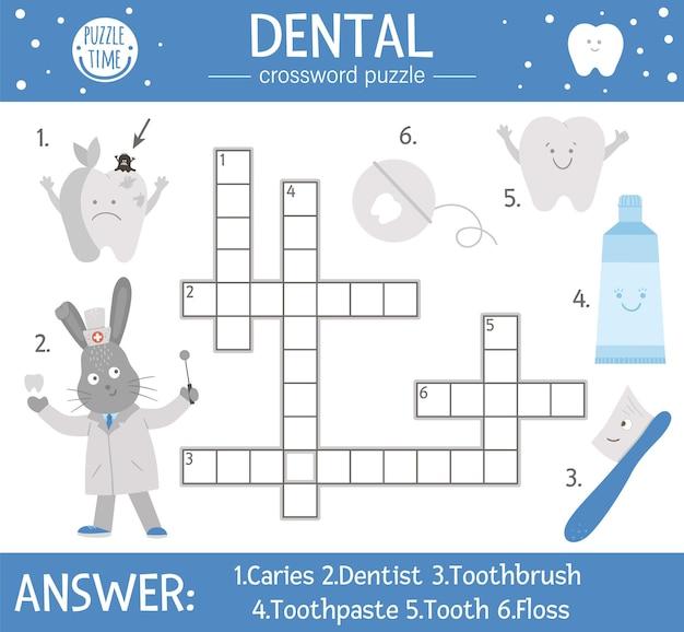 Crucigrama de cuidado dental de vector. cuestionario de higiene bucal para niños. actividad médica educativa con lindo dentista, diente, cepillo de dientes, pasta de dientes, hilo dental, manzana