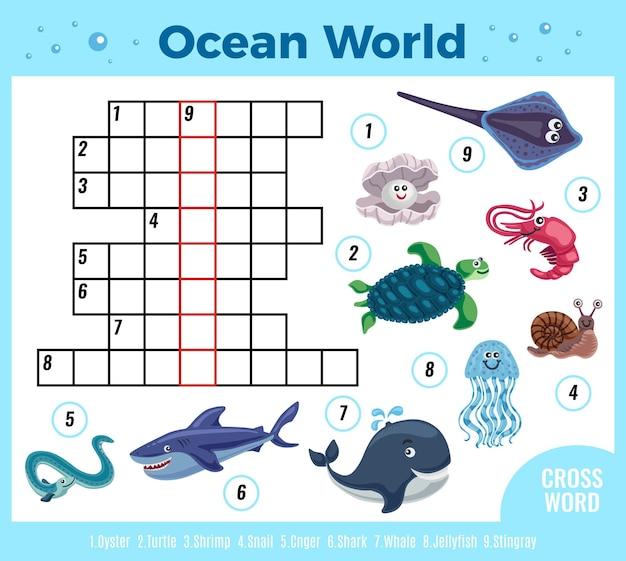 Crucigrama divertido de animales marinos