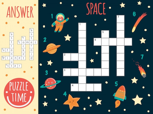 Crucigrama espacial. prueba brillante y colorida para niños. actividad de rompecabezas con ovnis, planeta, estrella, astronauta, cometa, cohete, asteroide
