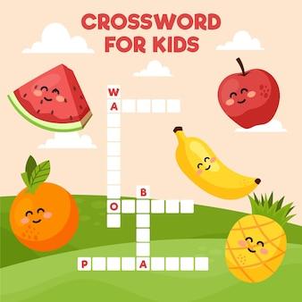 Crucigrama en inglés con frutas sonrientes