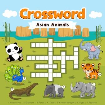 Crucigrama juegos de animales asiáticos