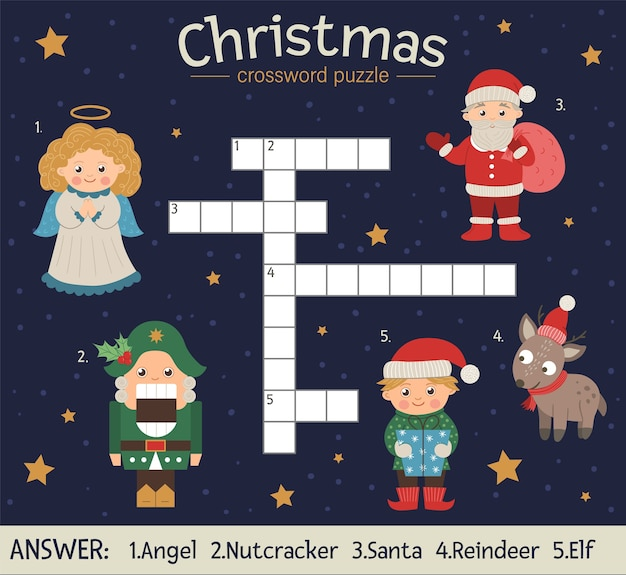 Crucigrama de navidad. prueba de invierno brillante y colorida para niños. actividad educativa de año nuevo con papá noel, ángel, cascanueces, duende, ciervo.