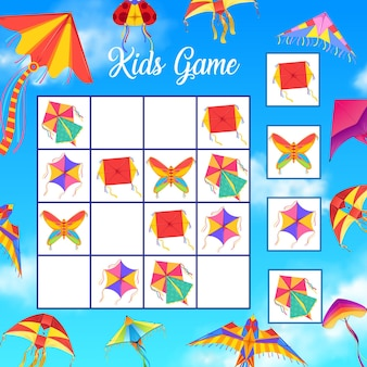 Crucigrama para niños o juego de lógica con cometas de papel.