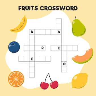 Crucigrama con palabras en inglés para diferentes frutas.