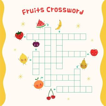 Crucigrama con palabras en inglés para frutas sonrientes