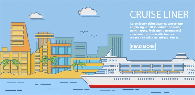 Cruise liner vector banner horizontal