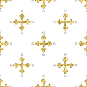 Cruz de brillo de oro sin fisuras con fondo de patrón de brillo de punto de plata