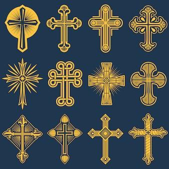 Cruz católica gótica iconos vectoriales