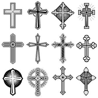 Cruz cristiana católica con conjunto de iconos de vector ornamento