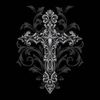 Cruz gótico syle vector ornamento