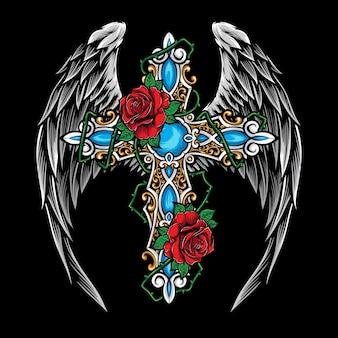 Cruz con ilustración de rosas