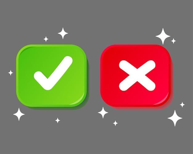 Cruz de marca de verificación en la ilustración gris