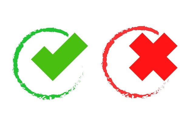 Cruz y marca de verificación sí o no símbolo o signo de elección ilustración vectorial