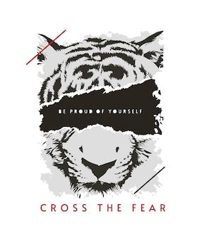 Cruzar el lema del miedo con la cara de tigre arrancada ilustración