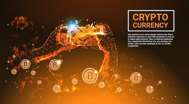 Crypto currency concept bitcoins money hand holding teléfono inteligente poligonal fusión diseño banner