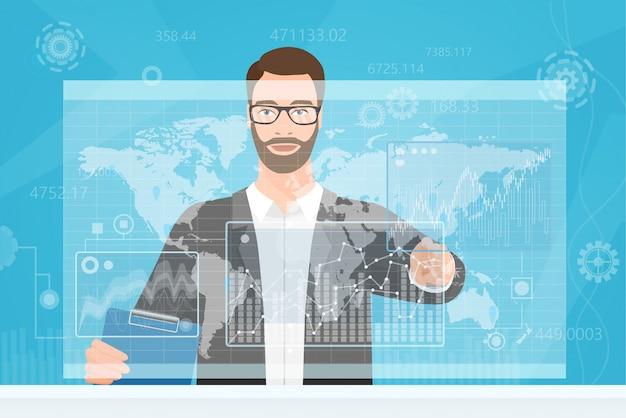 Crypto finance trader usando la interfaz de pantalla virtual