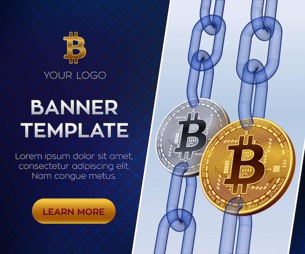 Crypto moneda plantilla de banner editable. bitcoin monedas bitcoin doradas y plateadas con cadena de alambre.