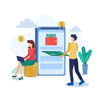 Crypto wallet ilustración en estilo plano