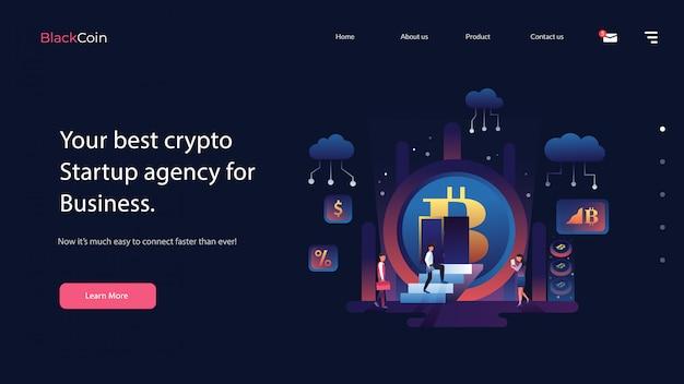 Crypto website vector illustration