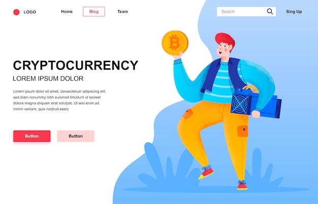 Cryptocurrency composición de página de destino plana.