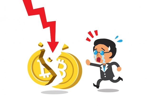 Cryptocurrency un empresario con moneda rota y signo de flecha roja