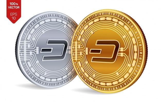 Cryptocurrency monedas de oro y plata con el símbolo dash aislado sobre fondo blanco.