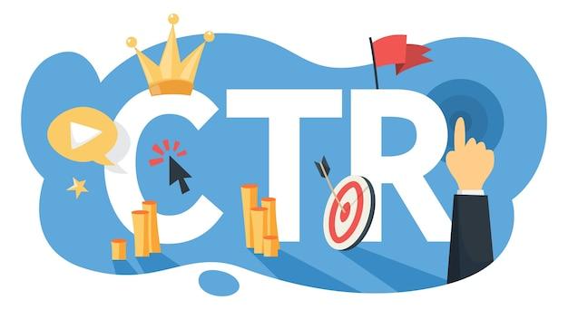 Ctr acrónimo de la ilustración de tasa de clics
