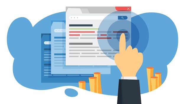 Ctr acrónimo de tasa de clics. campaña en internet y estrategia de marketing. publicidad con banner en página web. ilustración