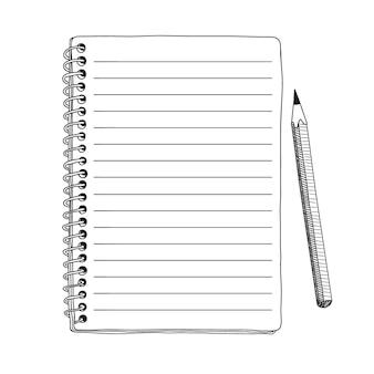 Cuaderno abierto con una espiral y un lápiz simple primer plano desde arriba boceto manual rápido