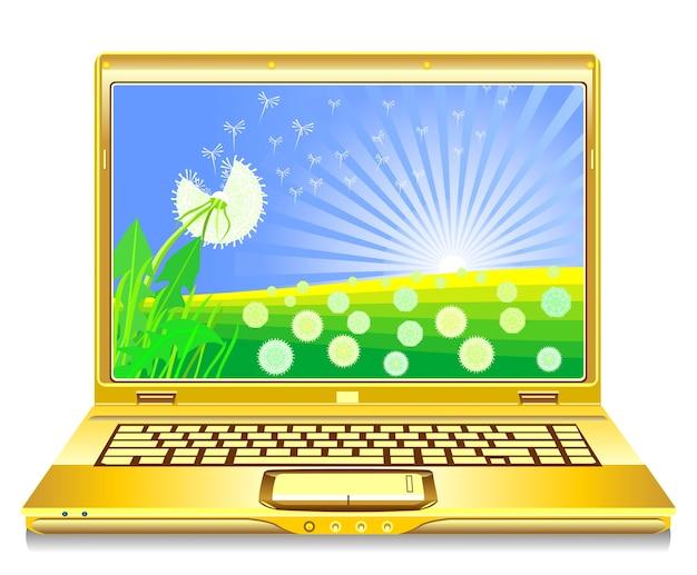 Cuaderno abierto de vector con dientes de león floreciendo en la pantalla