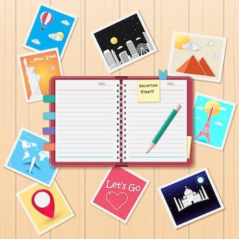 Cuaderno y álbum de fotos con elementos de viaje.
