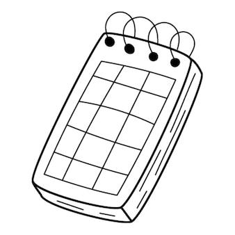 Un cuaderno de anillas, un calendario, un planificador con cuadrícula. garabatear. dibujado a mano ilustración en blanco y negro