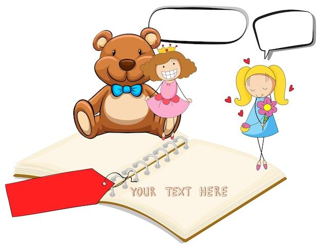 Cuaderno en blanco con dos niñas y fondo teddybear