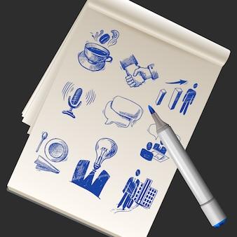 Cuaderno de bocetos de papel realista