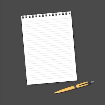 Cuaderno y bolígrafo. cuaderno y bolígrafo de espiral de maqueta realista en blanco