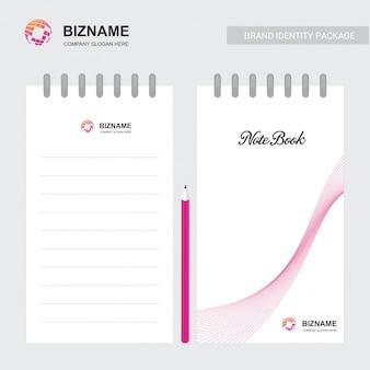 Cuaderno de la compañía con un vector de diseño único