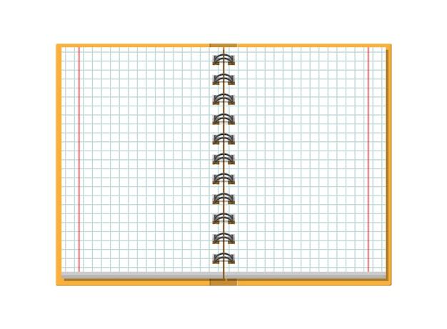 Cuaderno comprobado de papel escolar. escuela, negocios, plantilla de educación. papelería. suministros de oficina.