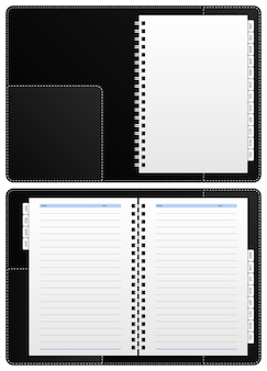 Cuaderno diario, carpeta de anillas. un cuaderno diario en blanco con carpeta de anillas que tiene particiones de enero a diciembre.