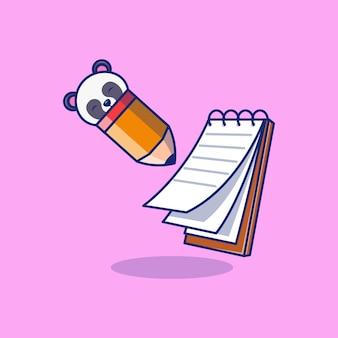 Cuaderno con diseño de ilustración de vector de lápiz de carácter panda