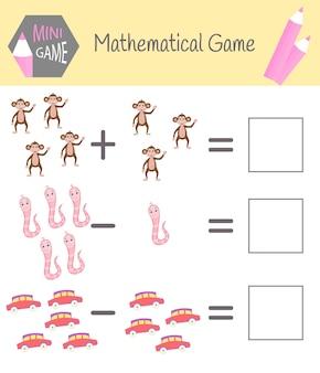 Cuaderno de ejercicios de matemáticas para la educación preescolar. puzzles para niños. aprenda a contar. resolver ejemplos.