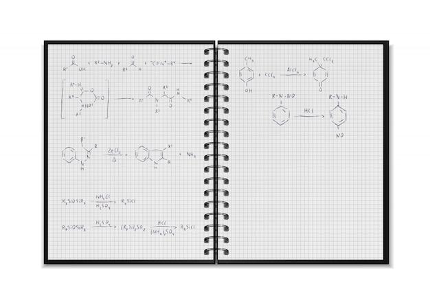 Cuaderno escolar realista abierto negro con ecuaciones de reacción química y fórmulas en hojas cuadriculadas en blanco