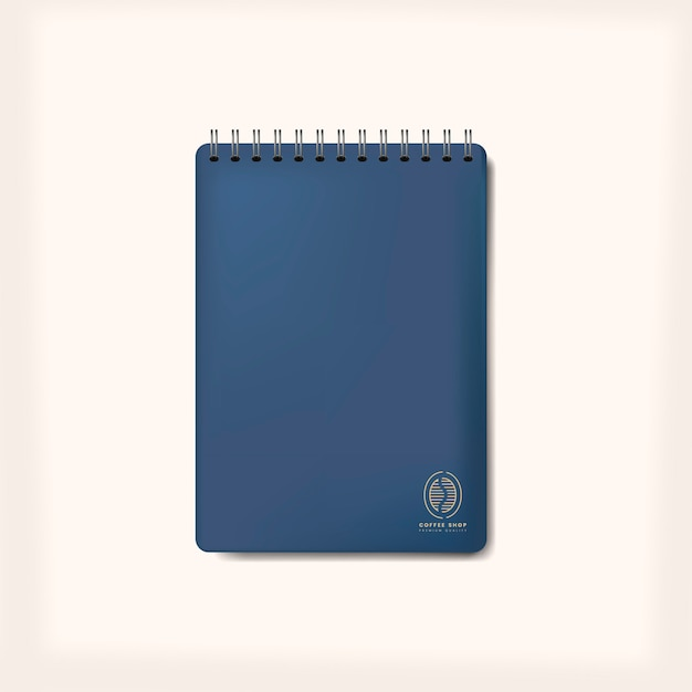 Cuaderno espiral azul maqueta vector aislado
