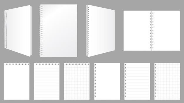 Cuaderno espiral en blanco cubre hojas y páginas con líneas y cheques conjunto de maquetas de ilustración vectorial