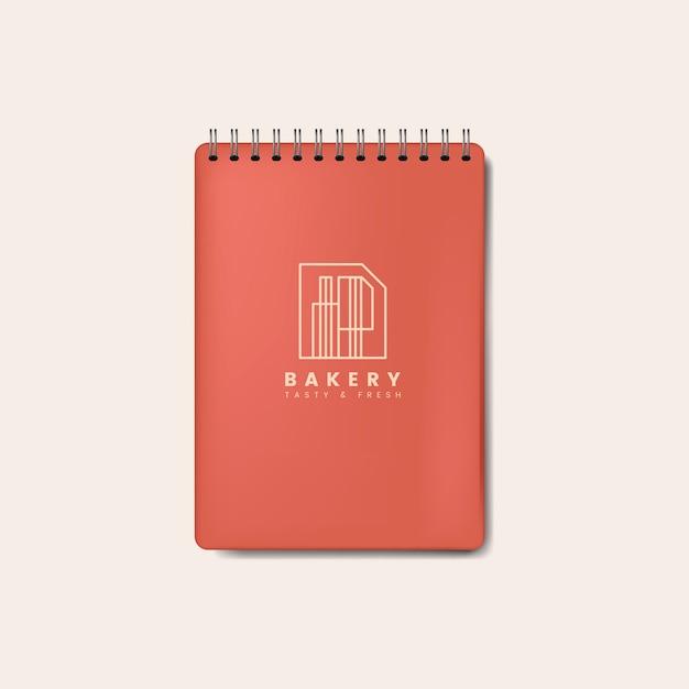 Cuaderno espiral rojo vector aislado maqueta