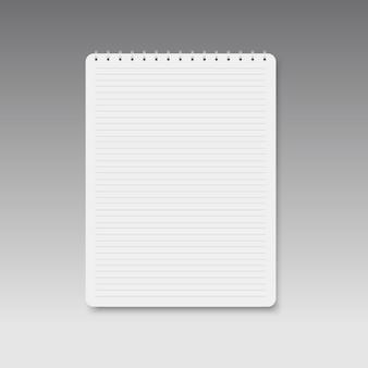 Cuaderno forrado horizontal espiral realista.