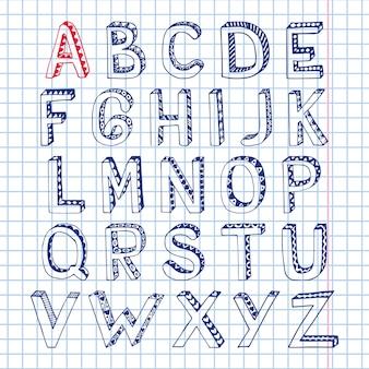 Cuaderno de fuente de alfabeto de bosquejo