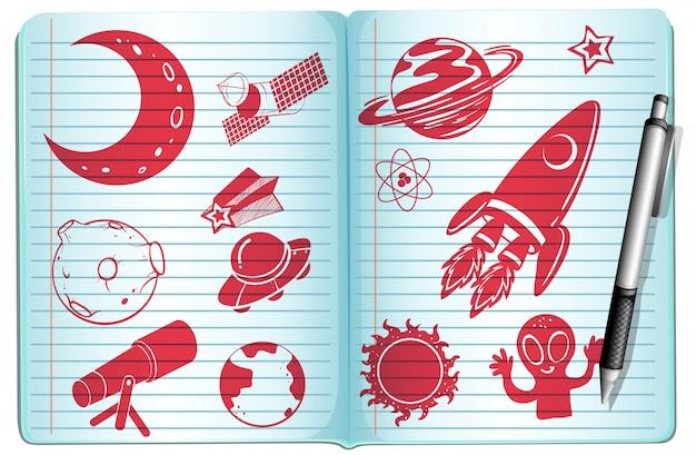 Cuaderno lleno de símbolos de la ciencia.