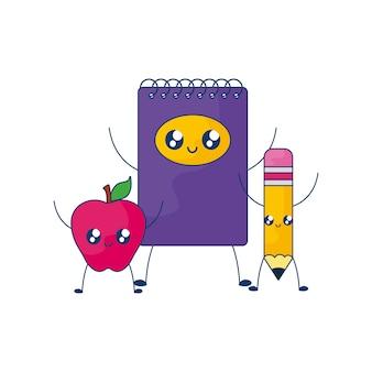 Cuaderno con manzana fruta y lápiz estilo kawaii