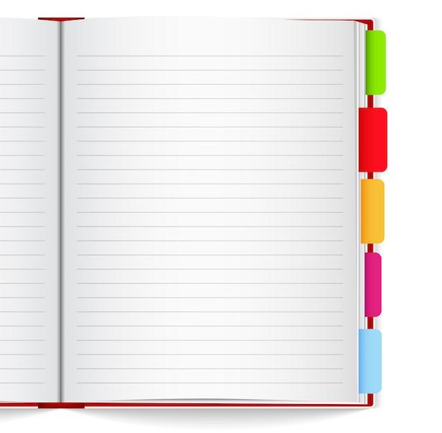 Cuaderno con marcadores,